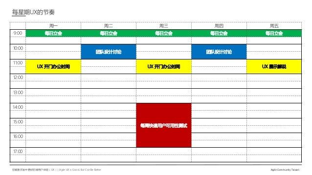在敏捷开发中更好的做用户体验(UX)   Agile UX is Good, But Can Be Better Agile Community Taiwan 每星期UX的节奏 周一 周二 周三 周四 周五 9:00 每日立会 每日立会 每日立...