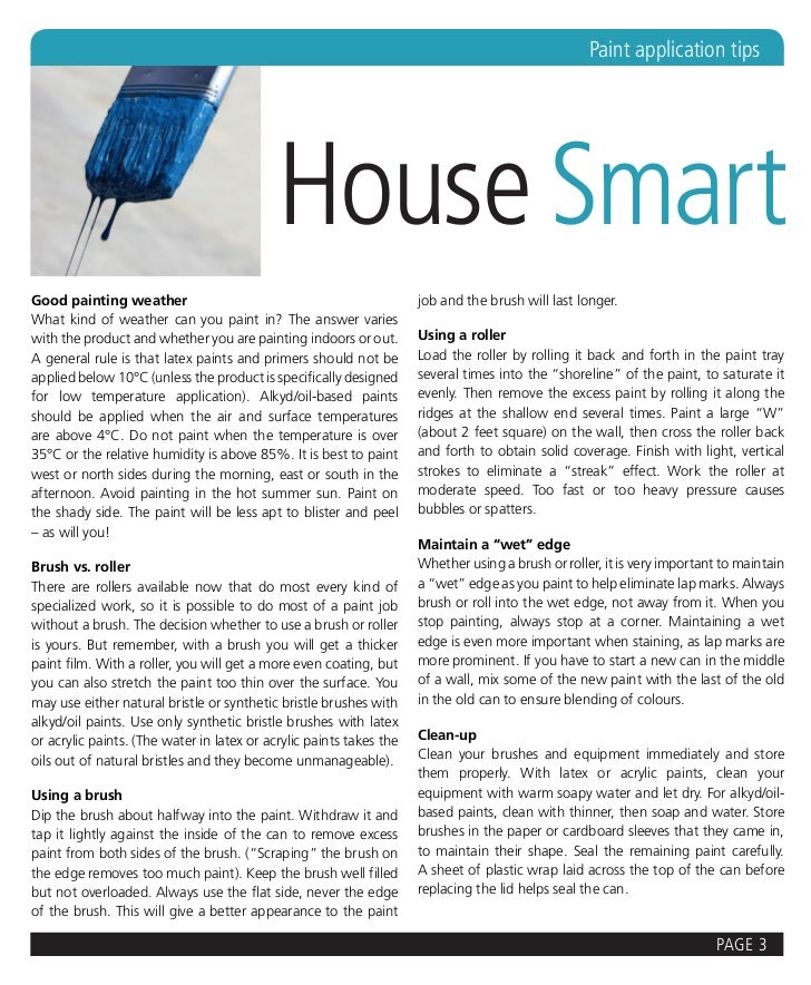 Paint application tips                                            House SmartGood painting weather                        ...