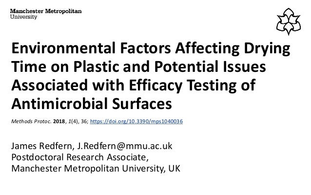 Environmental Factors Affecting Drying Time on Plastic and Potential Issues Associated with Efficacy Testing of Antimicrob...