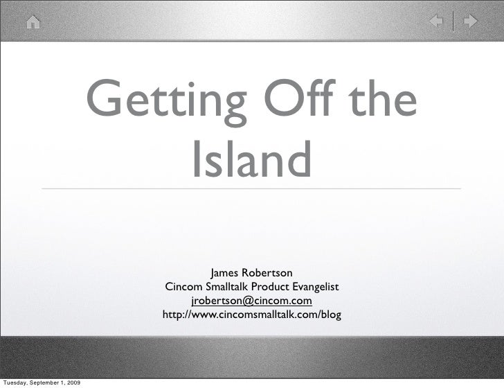 Getting Off the                                  Island                                            James Robertson        ...