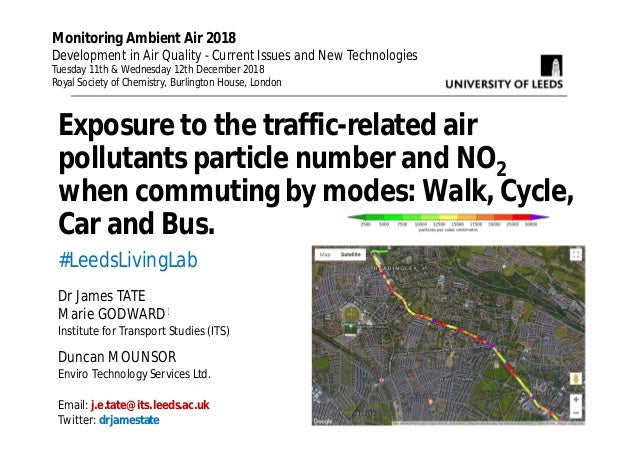 Exposure to the traffic-related air pollutants particle number and NO2 when commuting by modes: Walk, Cycle, Car and Bus. ...