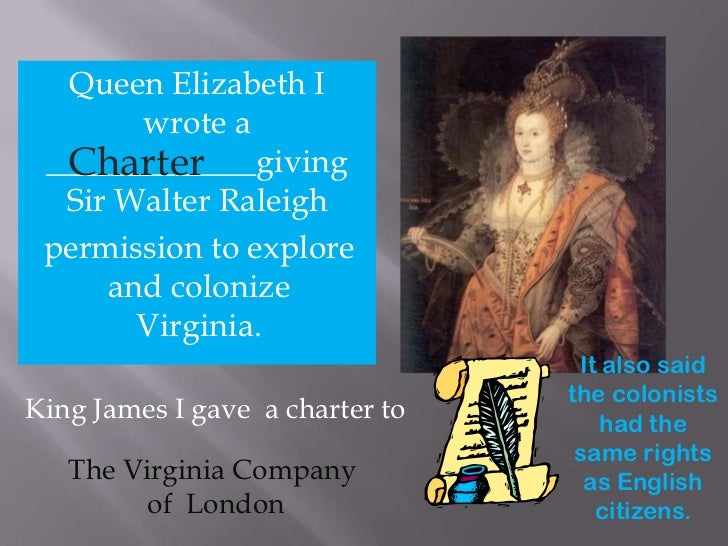 Queen Elizabeth I wrote a <br />_____________giving<br />Sir Walter Raleigh<br />Charter<br />permission to explore<br /> ...