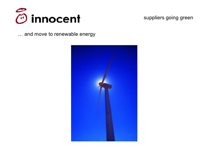 suppliers going green   … and move to renewable energy