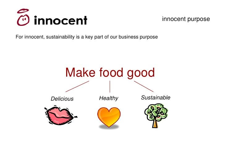 innocent purpose  For innocent, sustainability is a key part of our business purpose                            Make food ...