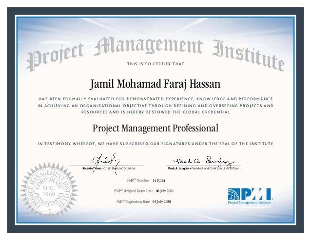 Jamil Pmp Certificate 2020