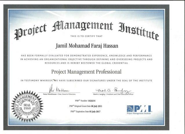 Jamil M. Faraj PMP certification