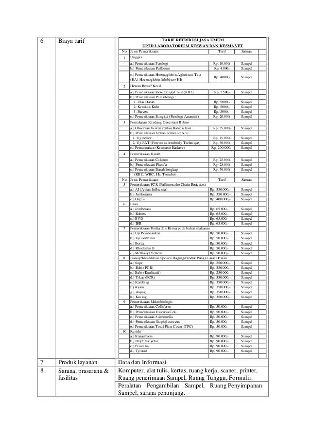 6 Biaya tarif TARIF RETRIBUSI JASA UMUM UPTD LABORATORIUM KESWAN DAN KESMAVET No Jenis Pemeriksaan Tarif Satuan 1 Unggas a...