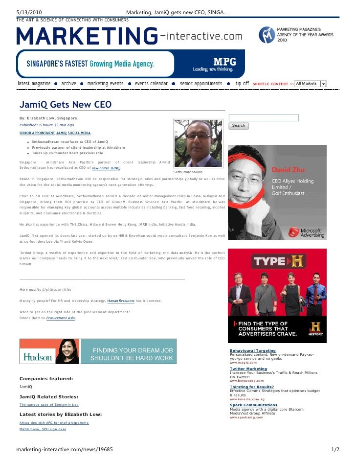 JamiQ CEO Appointment (marketing singapore) 13052010