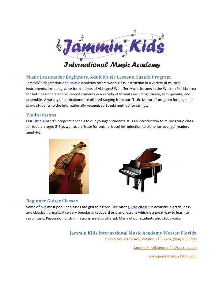 Music Lessons for Beginners, Adult Music Lessons, Suzuki ProgramJammin Kids International Music Academy offers world-class...
