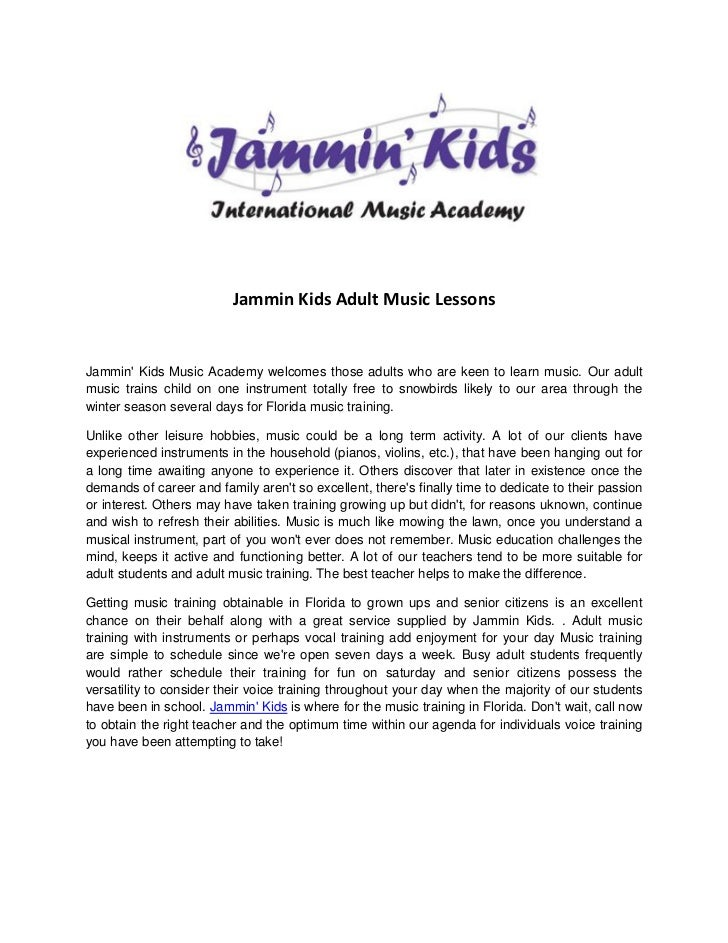 Jammin Kids Adult Music LessonsJammin Kids Music Academy welcomes those adults who are keen to learn music. Our adultmusic...