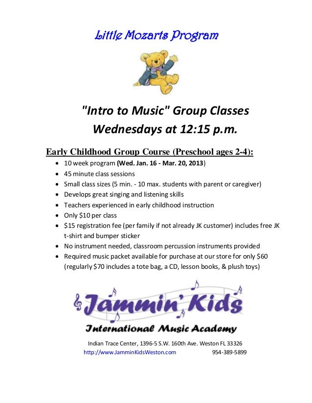 "Little Mozarts Program           ""Intro to Music"" Group Classes             Wednesdays at 12:15 p.m.Early Childhood Group ..."