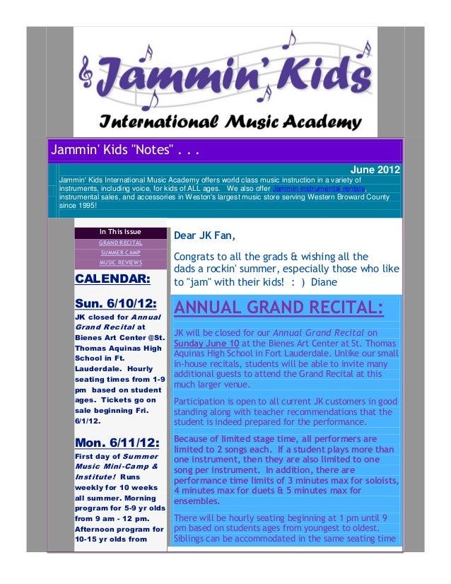 "Jammin Kids ""Notes"" . . .                                                                                       June 2012 ..."