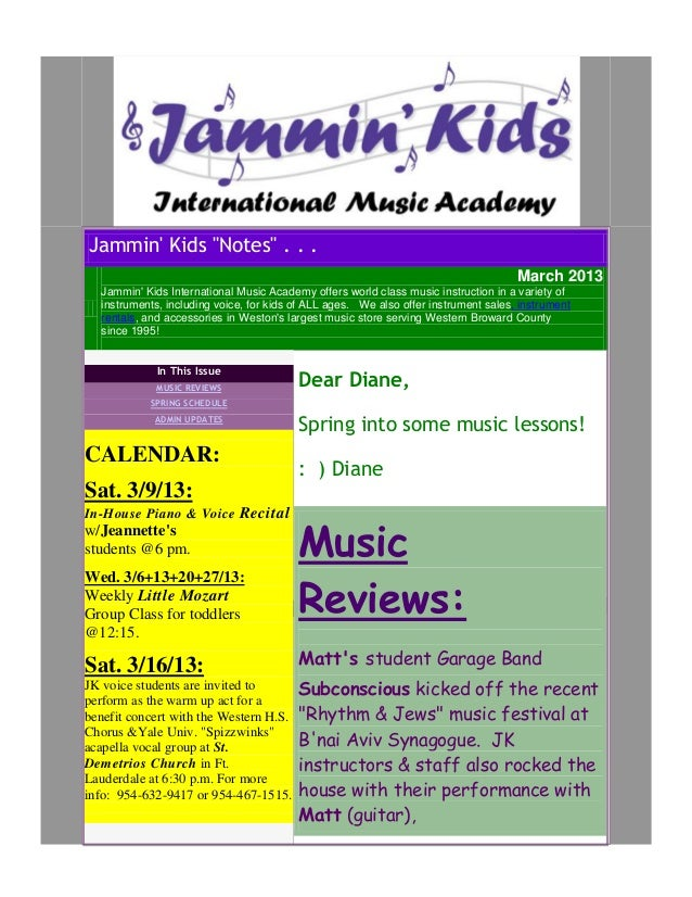 "Jammin Kids ""Notes"" . . .                                                                                     March 2013  ..."