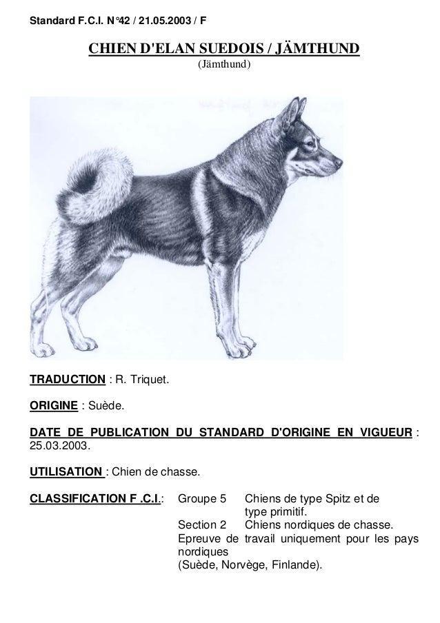 Standard F.C.I. N°42 / 21.05.2003 / F  CHIEN D'ELAN SUEDOIS / JÄMTHUND (Jämthund)  TRADUCTION : R. Triquet. ORIGINE : Suèd...