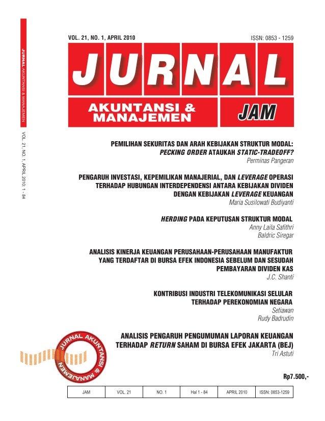 Vol. 21, No. 1, April 2010JURNAL AKUNTANSI & MANAJEMENEDITOR IN CHIEFDjoko SusantoSTIE YKPN YogyakartaEDITORIAL BOARD MEMB...