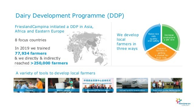 Dairy Development Programme (DDP) 8 focus countries In 2019 we trained FrieslandCampina initiated a DDP in Asia, Africa an...