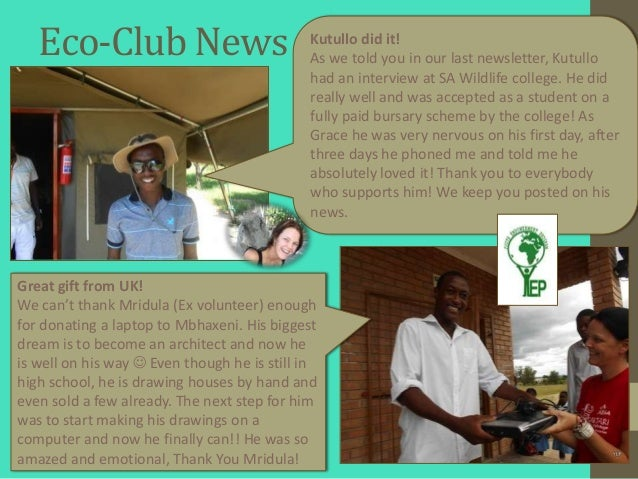 Eco-Club News                             Kutullo did it!                                             As we told you in ou...