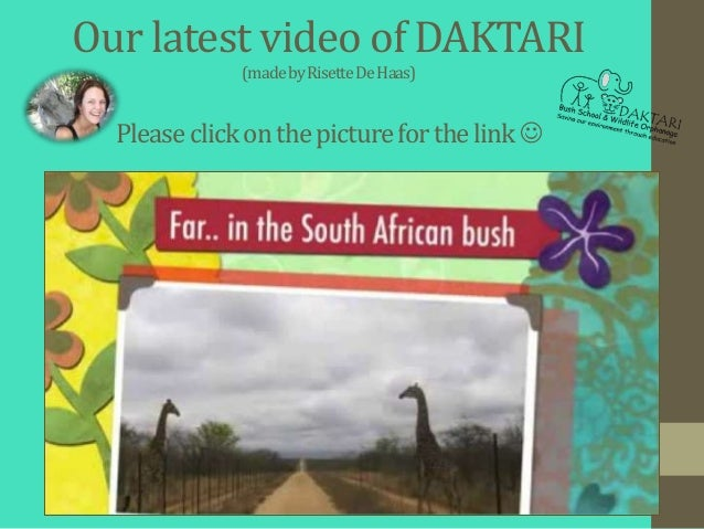 Our latest video of DAKTARI              (made by RisetteDe Haas)  Please click on the picture for the link 
