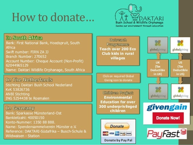 How to donate…Bank: First National Bank, Hoedspruit, SouthAfrica                                           Teach over 200 ...