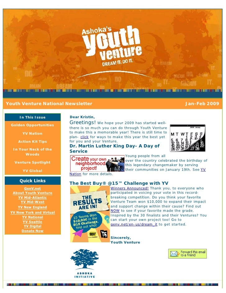 Youth Venture National Newsletter                                                        Jan-Feb 2009       In This Issue ...