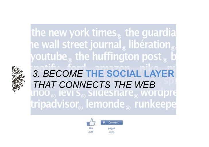 3. BECOME THE SOCIAL LAYERTHAT CONNECTS THE WEB          2009   2006