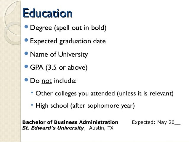 expected date of graduation on resumes