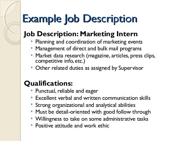 example job descriptionexample
