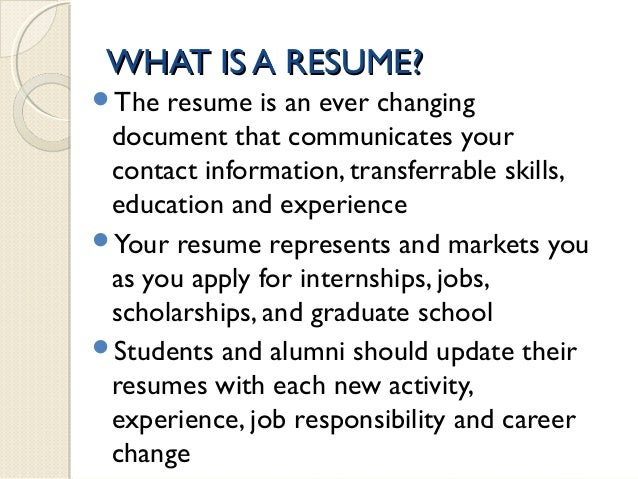 WHAT IS A RESUME?  What Is A Professional Resume