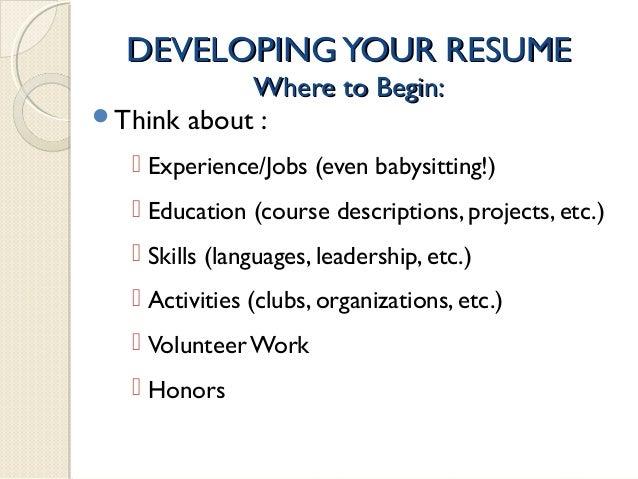 babysitting skills for resumes