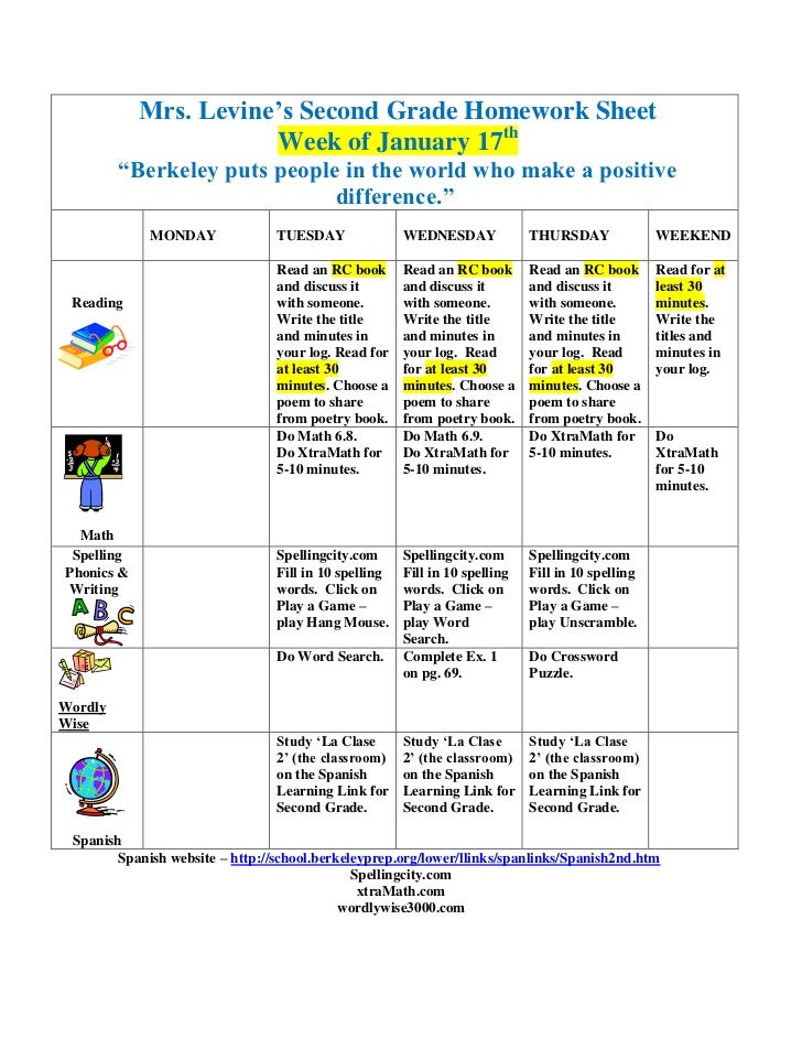 "Mrs. Levine's Second Grade Homework Sheet                       Week of January 17th         ""Berkeley puts people in the ..."