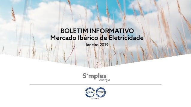 BOLETIM INFORMATIVO Mercado Ibérico de Eletricidade Janeiro 2019