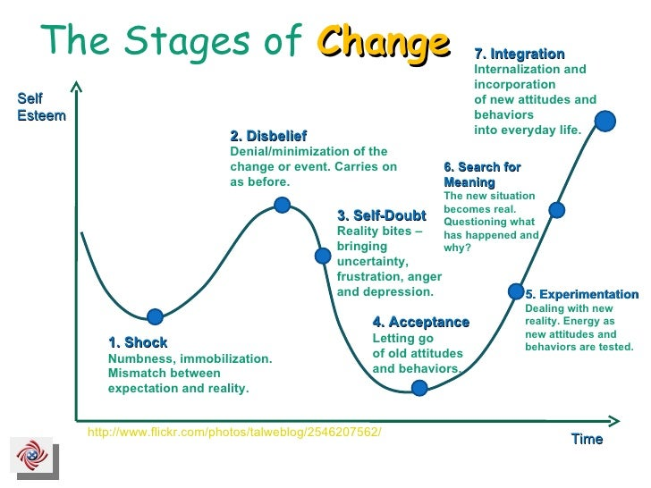 The Stages of  Change http://www.flickr.com/photos/talweblog/2546207562/ 3. Self-Doubt Reality bites – bringing uncertaint...