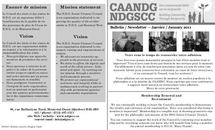 Énoncé de mission                          Mission statementLe Conseil des aînés et des aînées de       The N.D.G. Senior ...