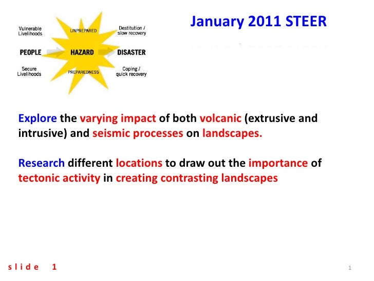 January 2011 STEER Explore the varying impact of both volcanic (extrusive and intrusive) and seismic processes on landscap...