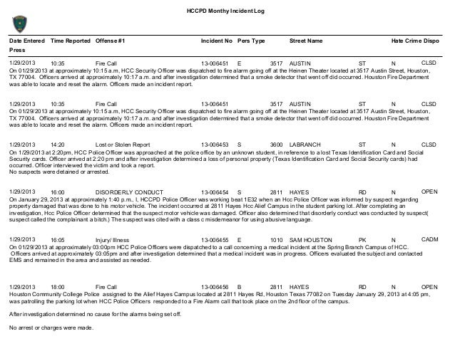 Jan 2013 Hccpd Monthly Incident Log