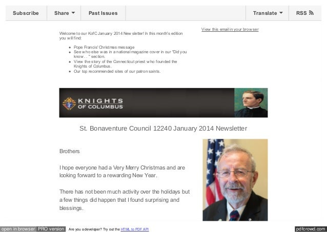 Subscribe  Share  Past Issues  Welcome to our KofC January 2014 New sletter! In this month's edition you w ill find:  Tran...