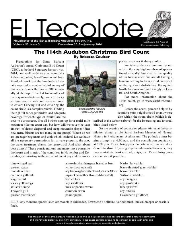 Newsletter of the Santa Barbara Audubon Society, Inc. Volume 52, Issue 3 December2013—January 2014 Celebrating 50 Years...