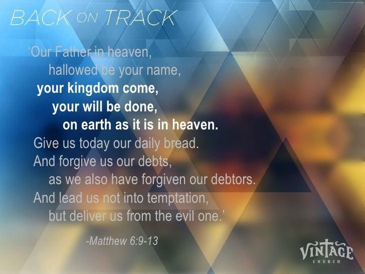 Getting Back on Track, Spiritually