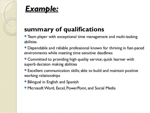 Example:Example: Summary Of Qualifications ...  Summary Of Qualifications Examples For Resume