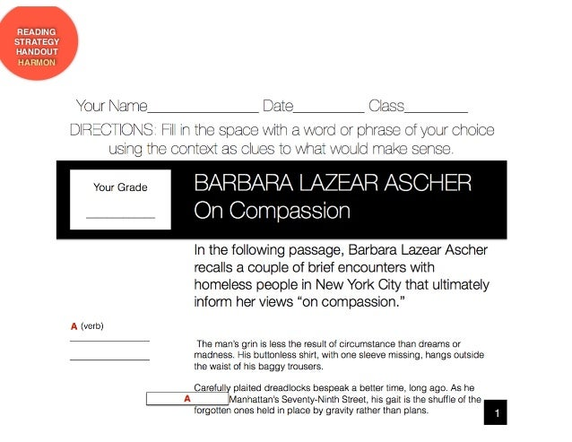 a comparison of homeless by anna quindlens and compassion by barbara aschers Causes and treatments of acne acne a comparison of homeless by anna quindlens and compassion by barbara aschers last updated on.
