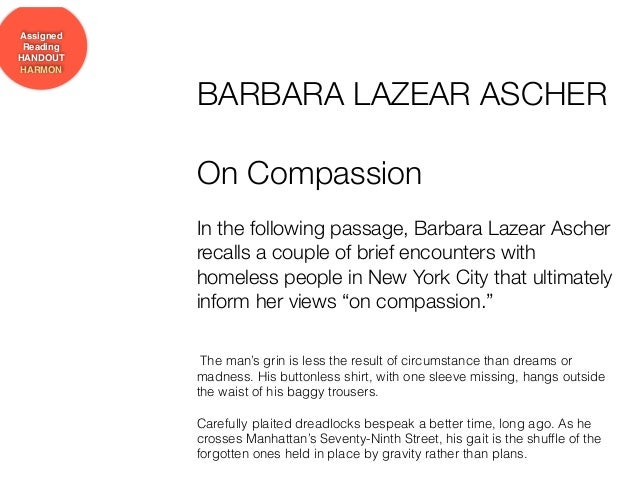 ascher barbara lazear on compassion essay On compassion by barbara lazear ascherpdf - google docs.