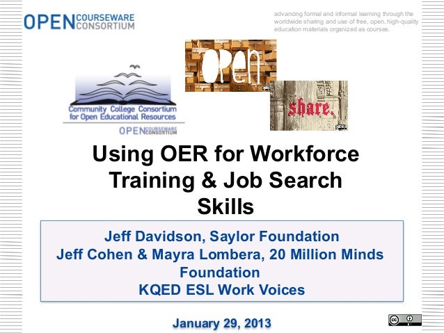 advancing formal and informal learning through the                                  worldwide sharing and use of free, ope...