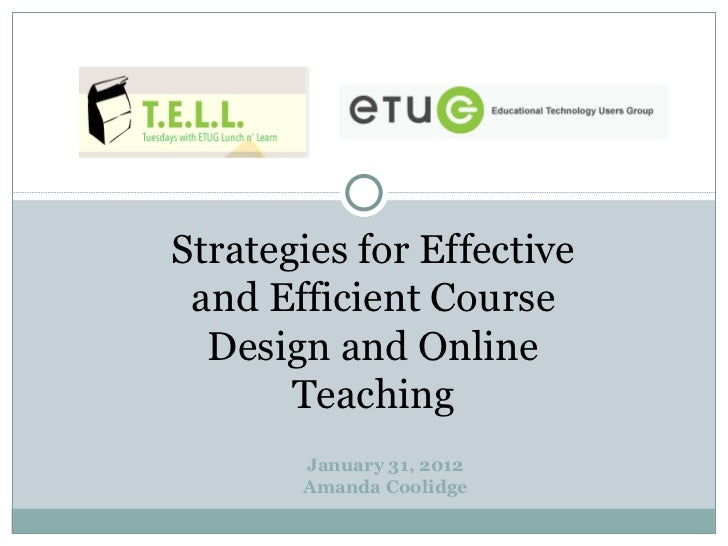 Tell Strategies For Effective And Efficient Course Design And Onl