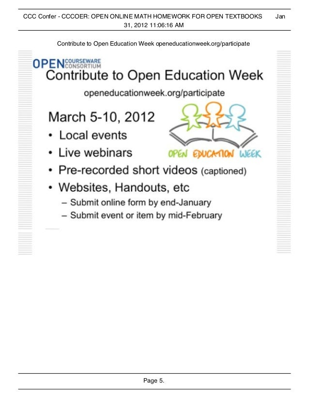 CCCOER Open Online Math Homework and Open Textbooks
