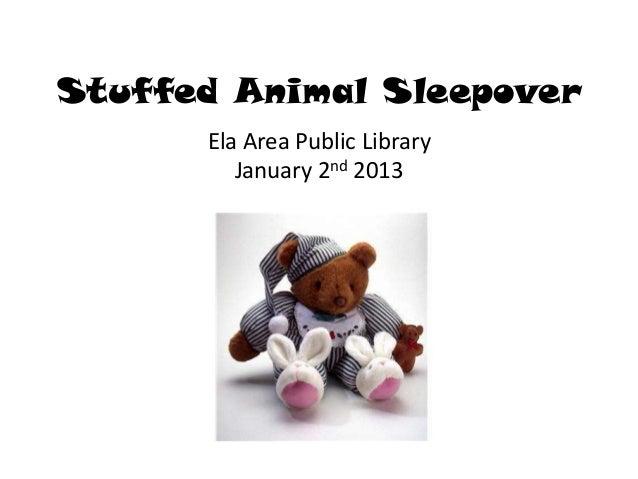 Stuffed Animal Sleepover      Ela Area Public Library         January 2nd 2013