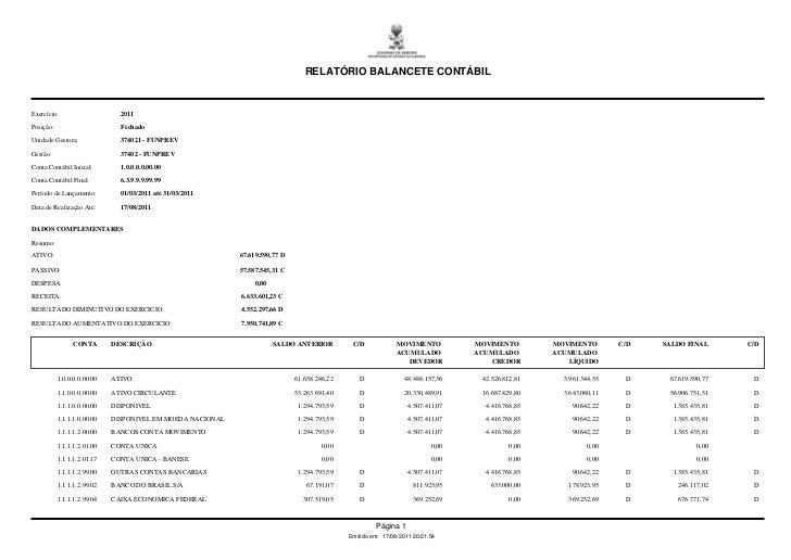 RELATÓRIO BALANCETE CONTÁBILExercício:                     2011Posição:                       FechadoUnidade Gestora:     ...