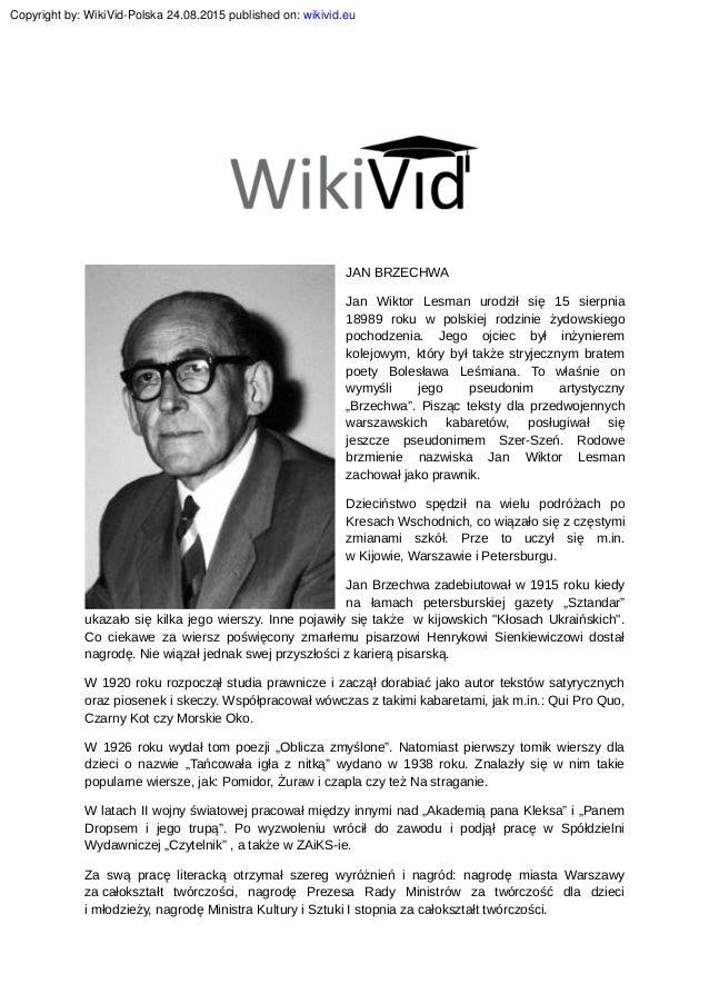 Jan Brzechwa Janbrzechwapisarzwideobiografia