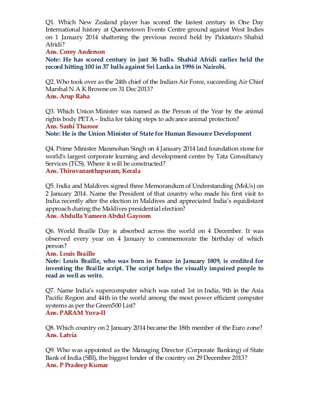 JANUARY 2014 CURRENT AFFAIRS DOWNLOAD