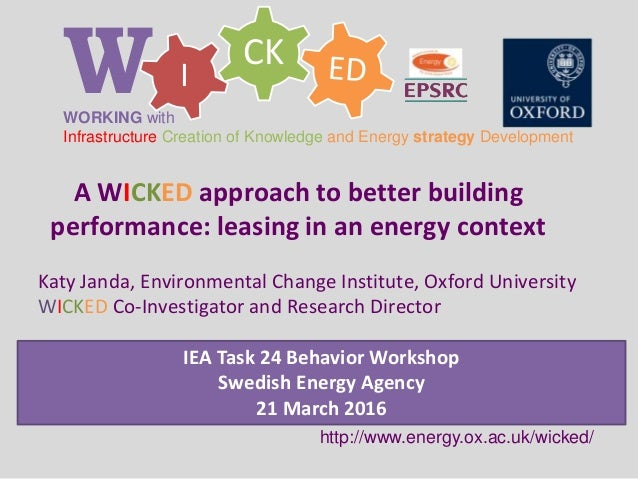 CK IWWORKING with Infrastructure Creation of Knowledge and Energy strategy Development http://www.energy.ox.ac.uk/wicked/ ...