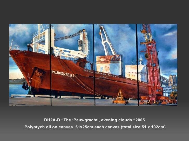 "DH2A-D ""The 'Pauwgracht', evening clouds ""2005  Polyptych oil on canvas  51x25cm each canvas (total size 51 x 102cm)"